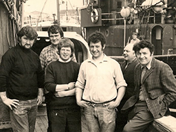 Anstruther Fish Bar and Restaurant owner Robert Smith's father David (right) with the Argonaut crew.